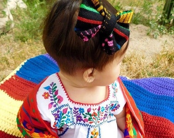 Sarape bow | Black Sarape bow, Fiesta bow, Mexican bow, Cinco de Mayo bow