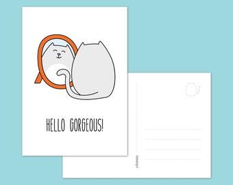 Postcard, cat - kitty mini print - hello gorgeous!