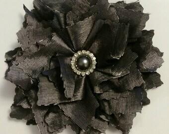 Handmade gray flower pin