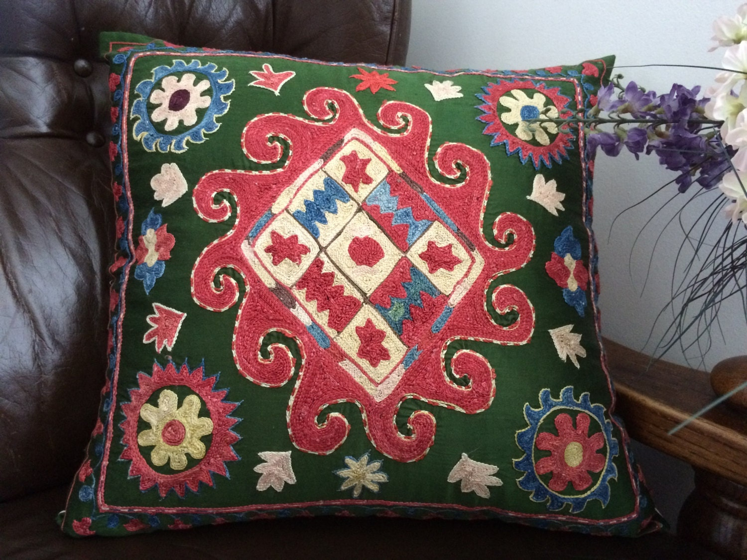 Decorative green suzani Sofa Cushion Cover, Traditional pillow case