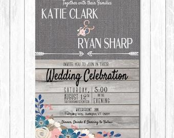 Floral Burlap Wedding Invite/ Save our Date/ Wedding Invitation Suite-PRINTABLE- Wood Background-Navy Pink Floral Rustic Wedding Invitation