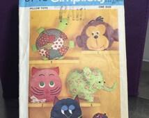 Vintage Pillow Toys, Animal Pillow, Pajama Bag, Cat Owl Elephant Monkey Turtle, Frog, Pillow Pals, Simplicity 9740