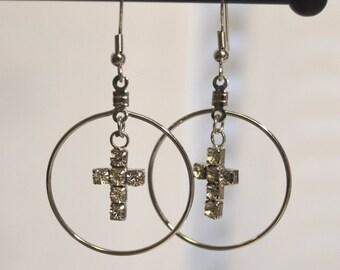Crystal Cross Hoop Dangle Silver Earrings