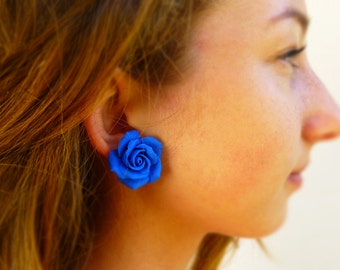 Blue earrings Flowers earrings Blue Stud Earrings Rose earrings Indigo earrings Cute earrings Gift for women Floral earrings Blue jewelry