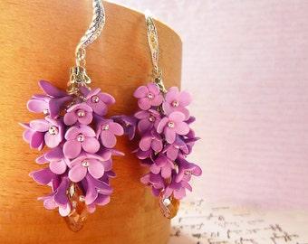 Earrings Lilac flowers Purple earrings Floral cluster earrings Shades of Purple Cluster Earrings Flower Earrings Purple Cluster Earrings