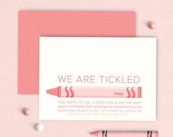 Pink Theme Shower Invitation, Pink Baby Shower Theme Invitation, Baby Shower Tickled Pink, Tickled Pink Invitation, Girl shower invitation