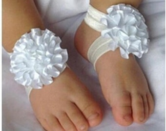 Baby footless sandals and headband,christening outfit,baby photo prop,lace satin cute