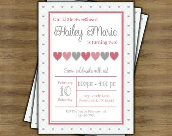 Little Sweetheart Birthday Invitation; Valentine Birthday Invitation; Little Sweetheart First Birthday Invitation; Heart Invitation