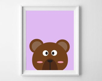 Bear Print | Animal Nursery Print | Nursery, Child's room decor | Digital Download
