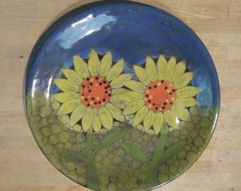 Sgraffito Flower Plate