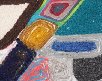 "needle felted ""abstract yarn"" painting OOAK"
