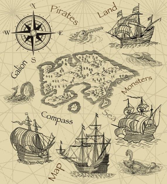 Pirate Treasure Map Rug: Wall Mural Old Pirates Treasure Map / Mural Old Map