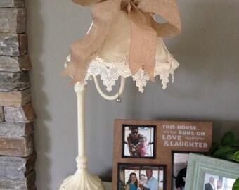 SOLD! Elegant upcycled shabby burlap and lace lamp
