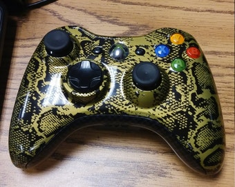 Custom Xbox 360 Controller - Snake Skin + Carbon Accents!