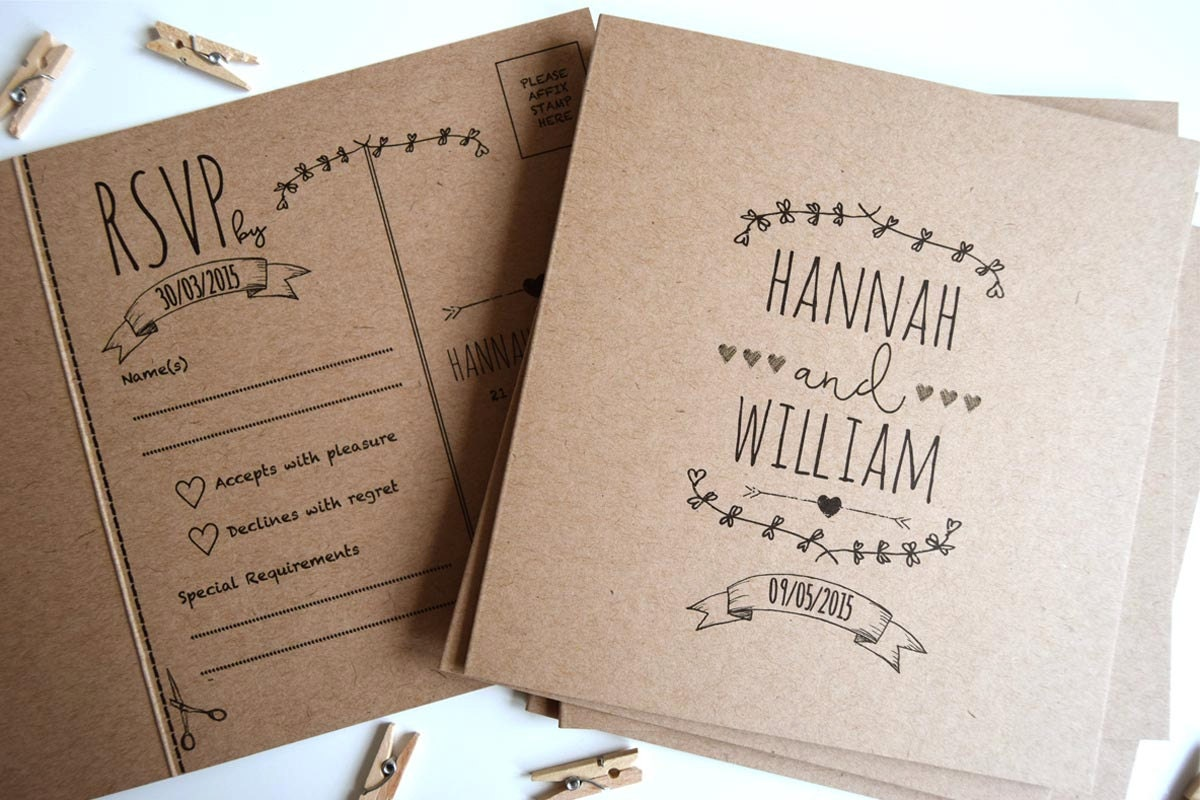 rustic kraft wedding invitations - 28 images - diy rustic wedding ...