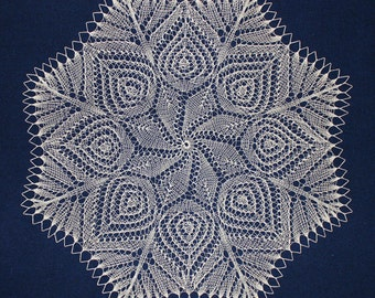 knitted doily, lace knitted doily, gift, big large knitted doily, table center accent, sandy color doily