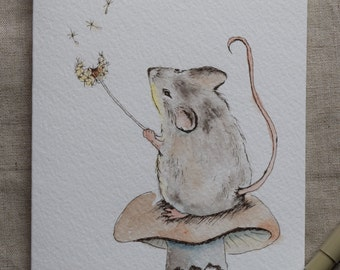 Little Mouse Watercolor Painted Card-'Make a wish' prints