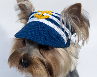 "Dog's Baseball Cap ""Anchor"" / Hats For Dogs / Crochet Dog Hat / Dog Top Hat /Dog Visors / Dog's Sun Hat / Puppy Hats / Knit Hats For Dogs"