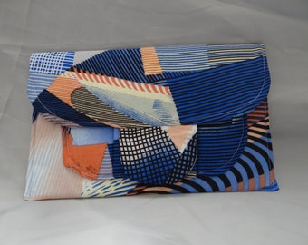 Blue patchwork style clutch