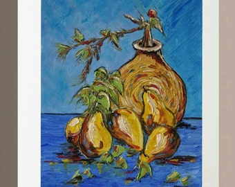 Original Oil Painting - Pears with Vase