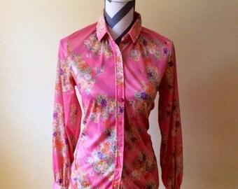 Vintage Miss K blouse/1960s blouse/ floral blouse