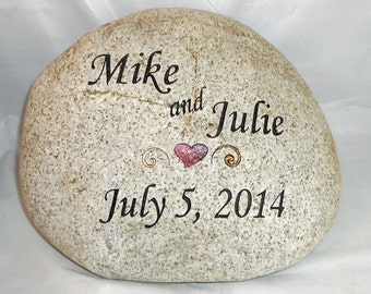 Engraved Marriage or Anniversary Large River Rock / FREE SHIPPING