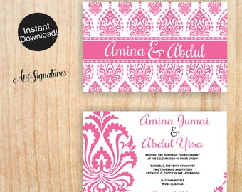 Damask Wedding Invitation Template Download | DIY Printable and Customizable | Instant Digital Download