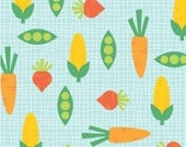 Veggies on Blue from the Funny Farm Collection by Diane Eichler for Studio E Fabrics