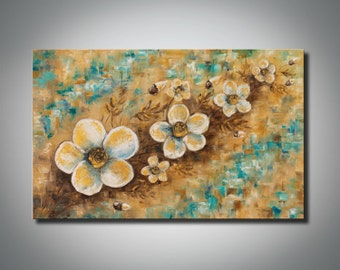 Abstract art Gold painting Golden art White flowers Oil painting on canvas Landscape painting Impasto Texture painting FREE SHIPPING
