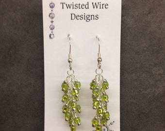 Lime Green Seed Beads and Sterling Silver Earrings