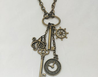 Steampunk Necklace Steampunk Pendant Steampunk Jewelry Nautical Jewelry Nautical Necklace Brass Keys Brass Octopus Necklace Clock Face