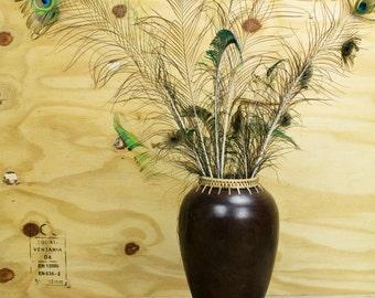 Vintage vase - hand-made wooden vase - Thai wooden vase - turned wood vase with grass edging