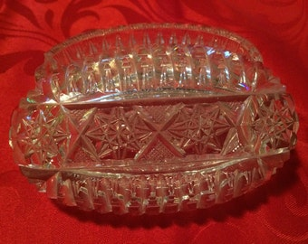 Clear cut glass candy dish FREE SHIPPING!!