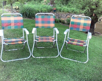 Vintage Aluminum Lawn Chairs, Webbed chairs 1960's -1970's, Webbed Chair, Movie prop, Patio Funiture