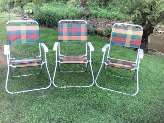 Items similar to Vintage Aluminum Lawn Chairs, Webbed ...