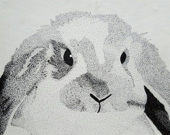 Black and white stipple rabbit, 8x10 print