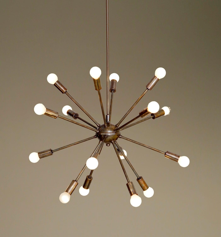 Mid Century Modern Patina Brass Sputnik By Nauticalvintagee
