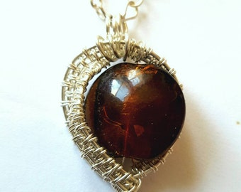 Wire wrapped pendant, silver filled wire, brown glass gemstone