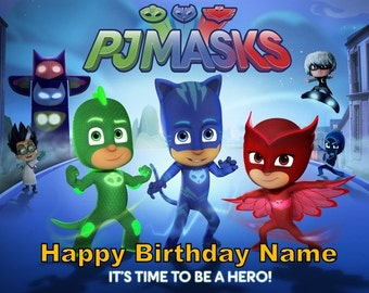 PJ Masks Edible Image Cake Topper Personalized Birthday 1/4 Sheet