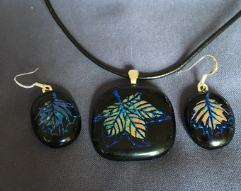 Double Dichroic Leaf Pendant and Earrings