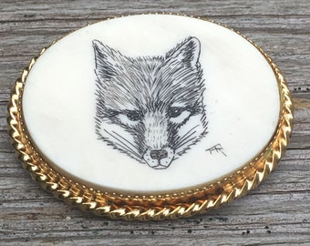 Verna Fox Portrait on Bone ~ Pendant or Brooch