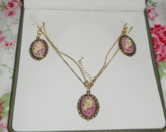Purple Butterfly and Rose Gold Cameo Necklace and Earrings Set