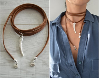 Leather Choker Necklace with SHARK or WOLF TOOTH, Wrap Choker Necklace, Tie Up Bolo Necklace, Bohemian Native American Jewelry, Wrap Choker