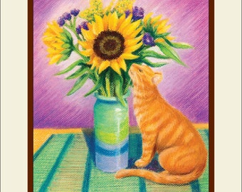 Matted Cat Art Print