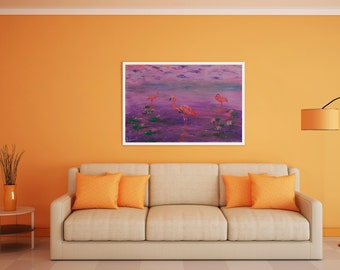 Acrylic Paint Pink flamingo 35x50