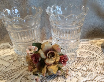Vintage pair Fifth Avenue cut crystal vase candle holder centre piece made in Poland