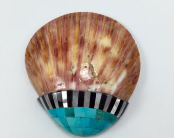 Spiny Oyster Shell with Turquoise, Jet, Mother of Pearl Inlay