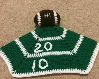 Handmade crochet football lovey