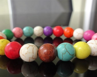 Genuine Multi-Color HOWLITE Bead Bracelet for Men or Women (On Stretch) 10mm