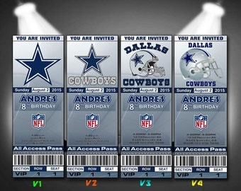 Dallas Cowboys Invitation, Dallas Cowboys Birthday Invitations, Football Invites, Birthday Tickets, Ticket, DIY Printables